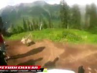 Helmet cam view of the trail