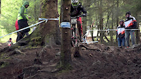 Josh Bryceland hits a tree at Fort William