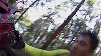 GoPro' ALain's drop off on Pipe Dream trail ramp
