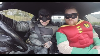 CAUGHT DRIVING NISSAN GTR : BATMAN VS ROBIN!...
