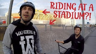 BMX TRICKS AT THE STADIUM!