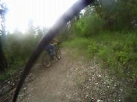 burrito bandito ridding his bmx on a short trail