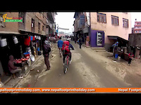 Mountain bike riding around Kathmandu courtyard