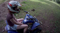 Katie almost going OTB on her quad